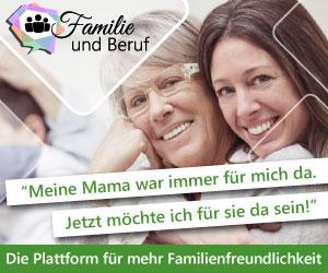 Werbebanner für Familie und Beruf – Die digitale Lösung für eine bessere Vereinbarkeit von Familie und Beruf. Frau umarmt ältere Frau. Slogan: Meine Mama war immer für mich da. Jetzt möchte ich für sie da sein.